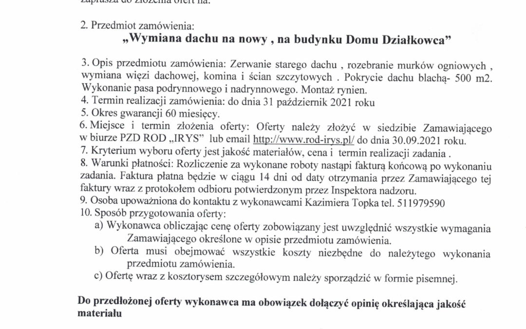 Przetarg na wymianę dachu Domu Działkowca w ROD Irys w Mysłowicach